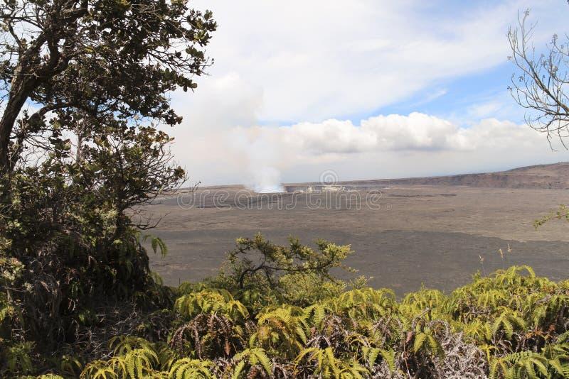 Van de Kilauea belangrijkst krater en caldera standpunt, Groot Eiland, Hawaï stock foto's