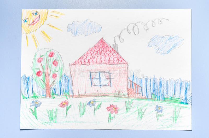 Van de kinderen` s tekening en kleur potloden stock foto