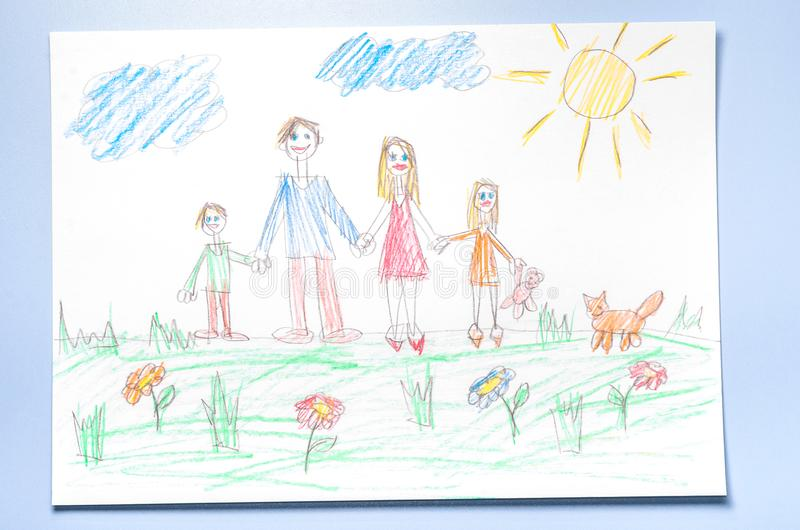 Van de kinderen` s tekening en kleur potloden royalty-vrije stock foto's