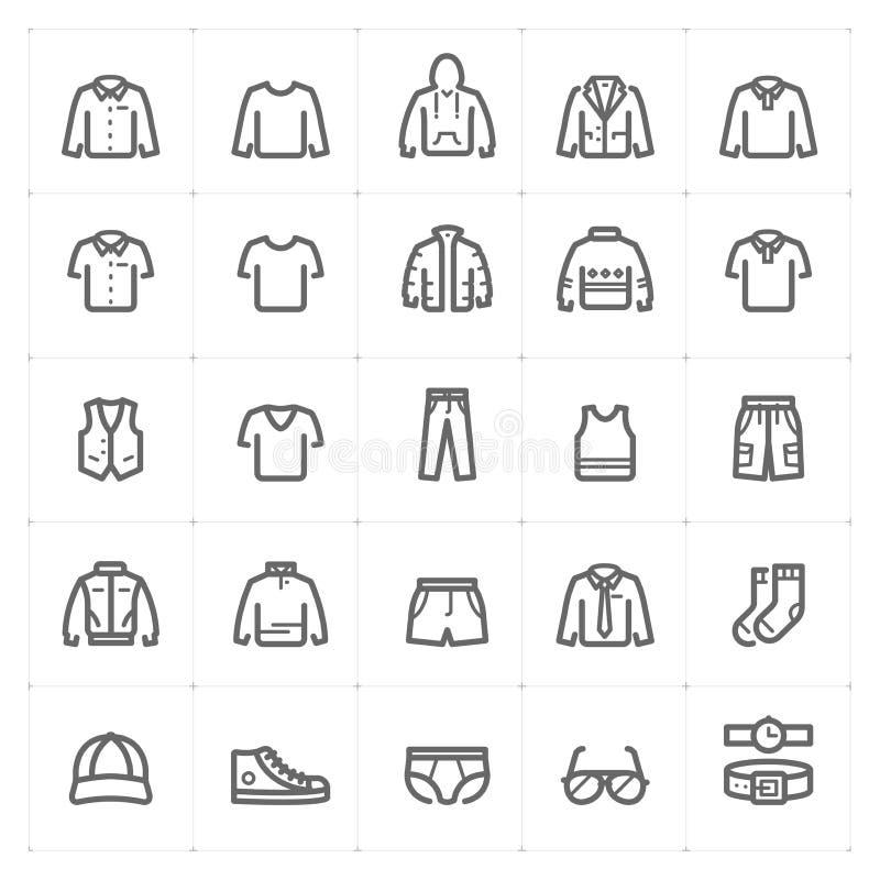 """Van de de Kledingsmens van Mini Icon vastgestelde †""""van de het pictogram vectorillustratie gewaagde de lijnstijl royalty-vrije illustratie"""