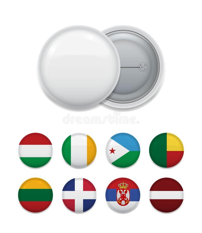 Van de klemkenteken en wereld vlaggen stock illustratie