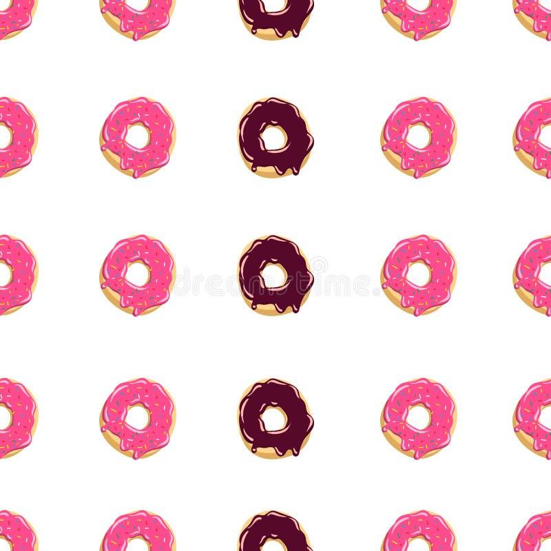 Van de kleurendoughnut naadloze patroon Verglaasde donuts Vectorillustratie als achtergrond vector illustratie