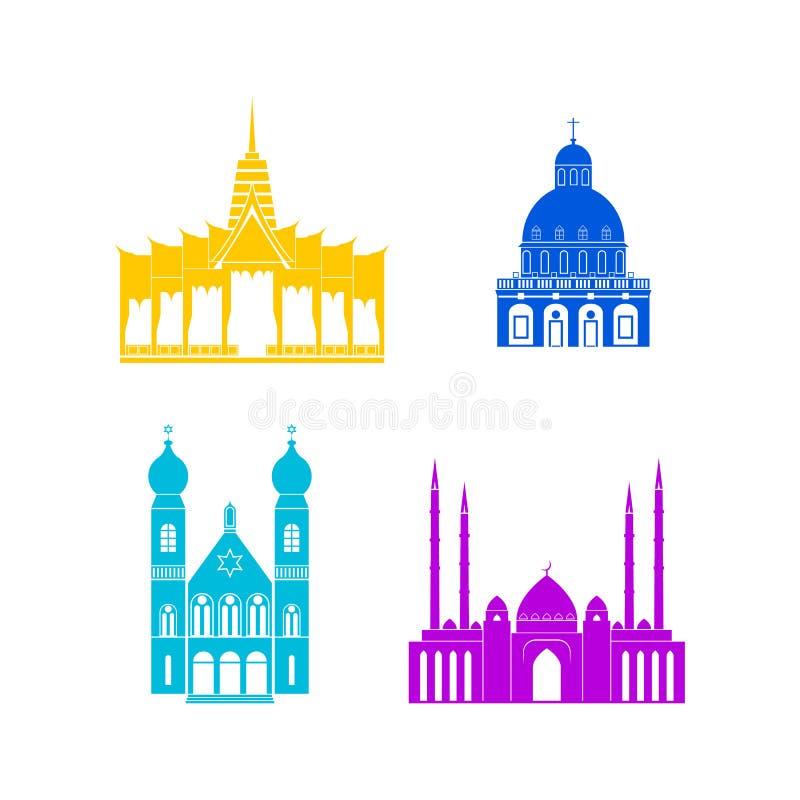 Van de Kleurenkerken en Tempels van het beeldverhaalsilhouet Pictogramreeks Vector royalty-vrije illustratie