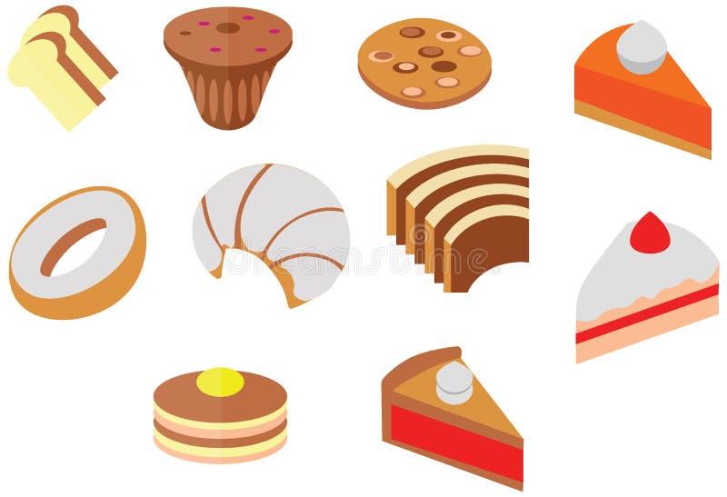 Van de de kleurenkoffie van de beeldverhaalkrabbel van de het koekjescake leuk het dessert vlak pictogram royalty-vrije illustratie