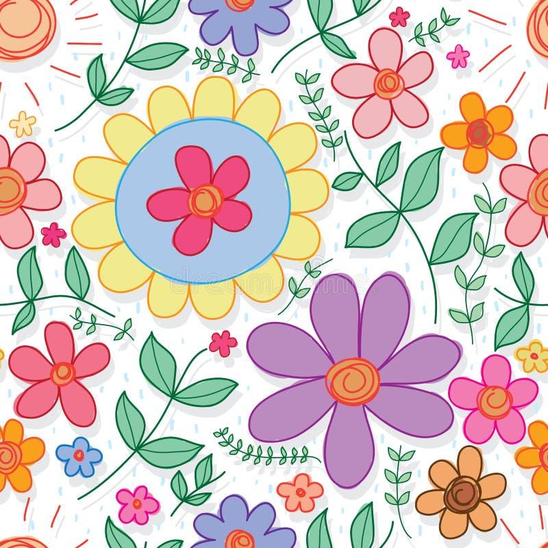 Van de de kleurenregen van de bloemcirkel de dalings naadloos patroon stock illustratie