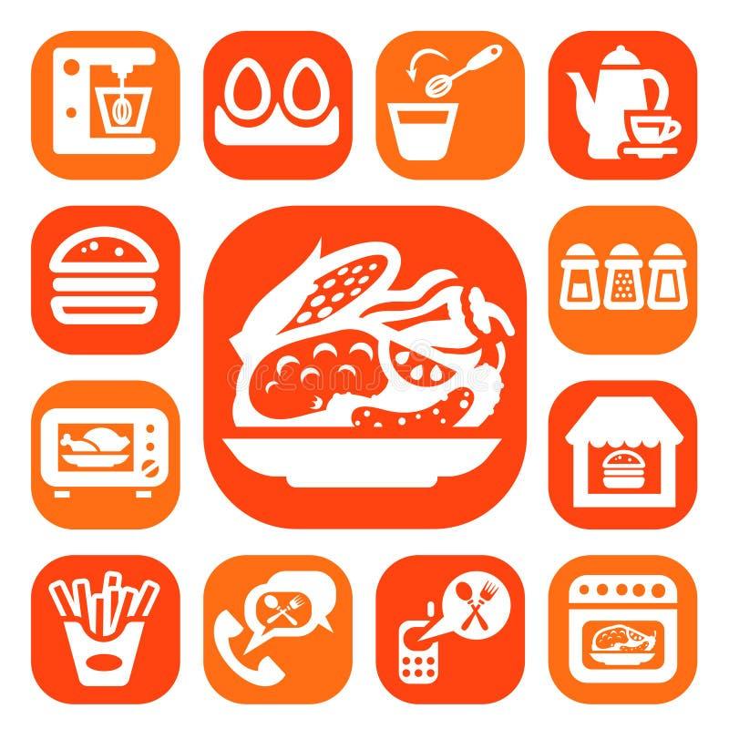 Van de kleurenvoedsel en keuken pictogrammen stock illustratie