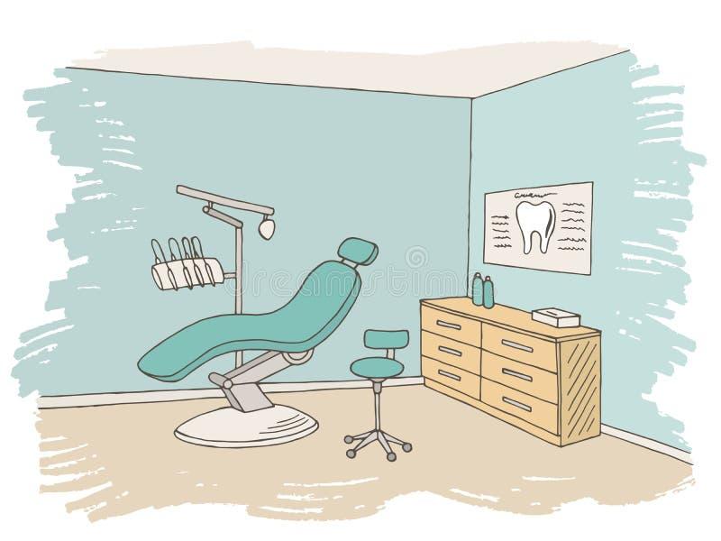 Van de de kliniek de grafische kleur van het tandartsbureau vector van de de schets binnenlandse illustratie royalty-vrije illustratie