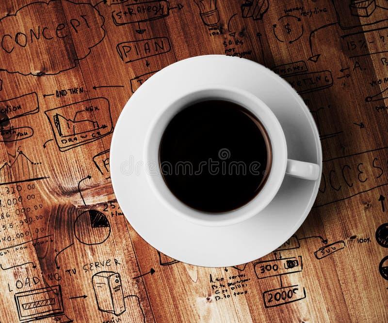 Van de koffiekop en tekening bedrijfsstrategie royalty-vrije stock foto