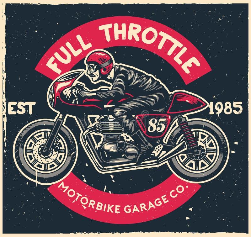 Van de de koffieraceauto van de mensenrit de motorfiets in hand tekening royalty-vrije illustratie