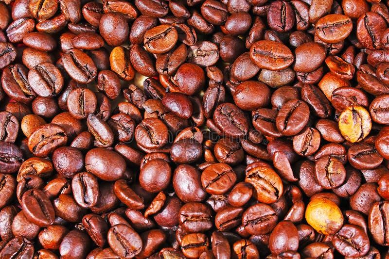 Van de de koffietextuur van koffiebonen het patroonclose-up als achtergrond royalty-vrije stock foto's