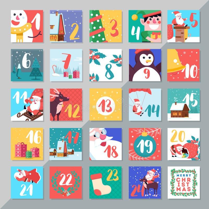 Van de de komstkalender van de Kerstmisvakantie het malplaatjeontwerp Vrolijke Kerstmis DA stock illustratie