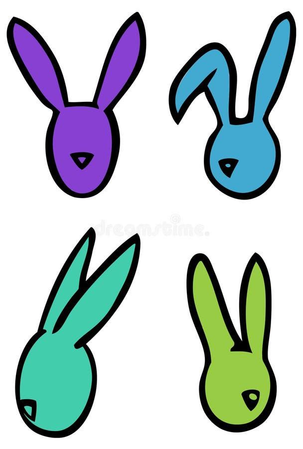 Van de konijntjeskonijnen van Pasen de vector lineaire hoofdsilhouetten in heldere kleuren vector illustratie