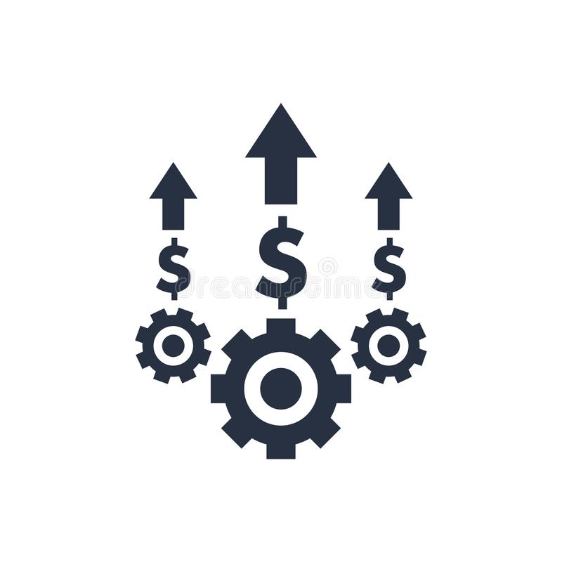Van de kostenoptimalisering en productie efficiency, het pictogram van het kostenbeheer De bedrijfsefficiency en kwaliteitsdienst stock illustratie