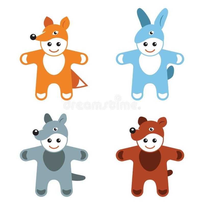 Van de kostuumsdieren van Carnaval van kinderen van de de hazenvos de wolfsbeer vector illustratie