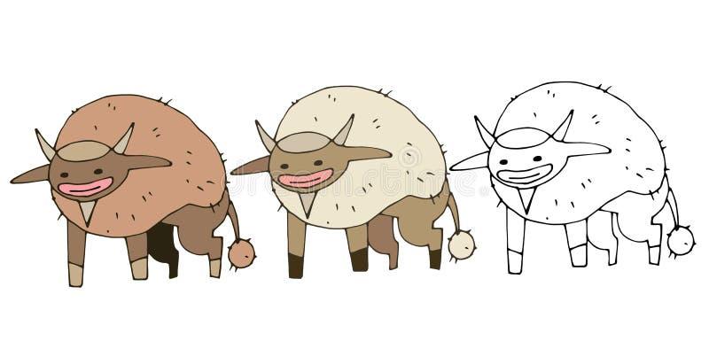 Van de de krabbel trekt de grappige stier van het drukbeeldverhaal gelukkige de kleurenhand vastgesteld monster vector illustratie