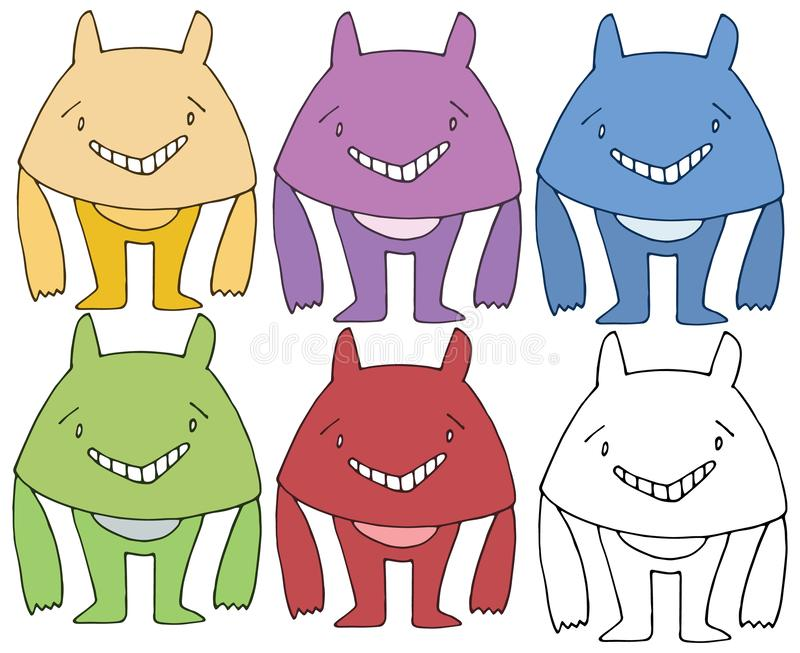 Van de de krabbelkleur van het drukbeeldverhaal trekt de gelukkige het monsterhand reeks vector illustratie