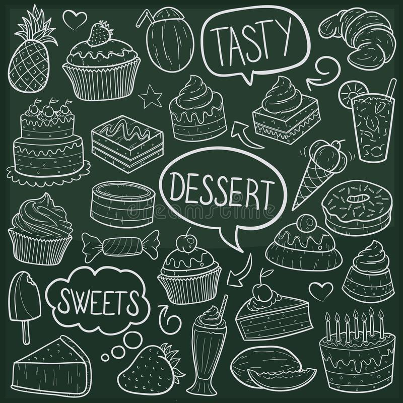Van de Krabbelpictogrammen van dessertssnoepjes Traditionele de Schetshand - gemaakte Ontwerpvector stock illustratie