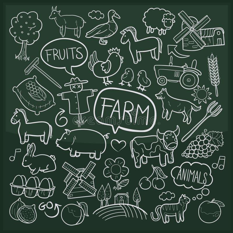 Van de Krabbelpictogrammen van landbouwbedrijfdieren Traditionele de Schetshand - gemaakte Ontwerpvector stock illustratie