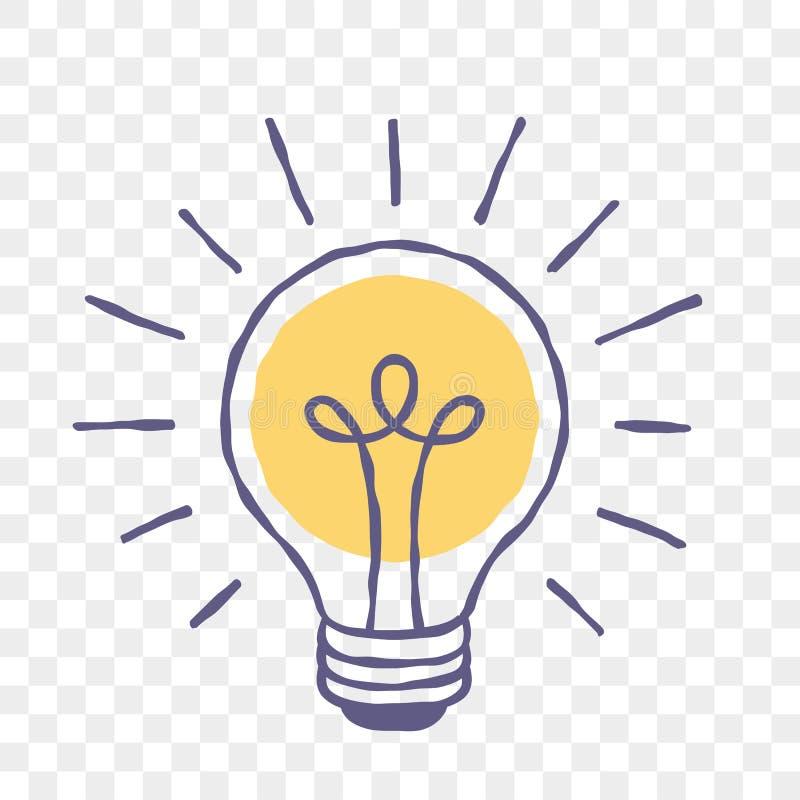 Van de de krabbelschets van het lampidee lightbulb het vectorpictogram stock illustratie