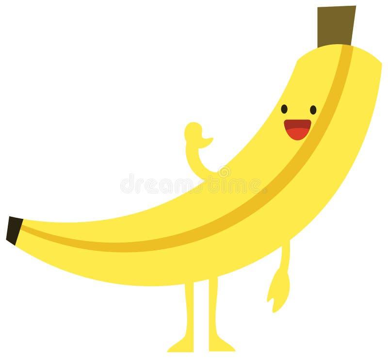 Van de de krabbelzomer van het drukbeeldverhaal van de kleuren vastgesteld citrusvruchten vlak gelukkig de banaanmonster royalty-vrije illustratie