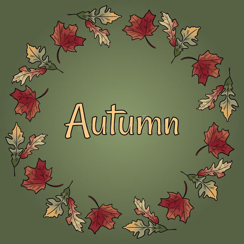Van de de krooncirkel van de de herfstdaling van de brunchbladeren het gebladerte oranjerode kleurrijke vectortekst stock illustratie