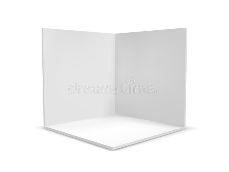 Van de kubusdoos of hoek ruimte binnenlandse dwarsdoorsnede Vector witte lege geometrische vierkante 3D lege doos vector illustratie