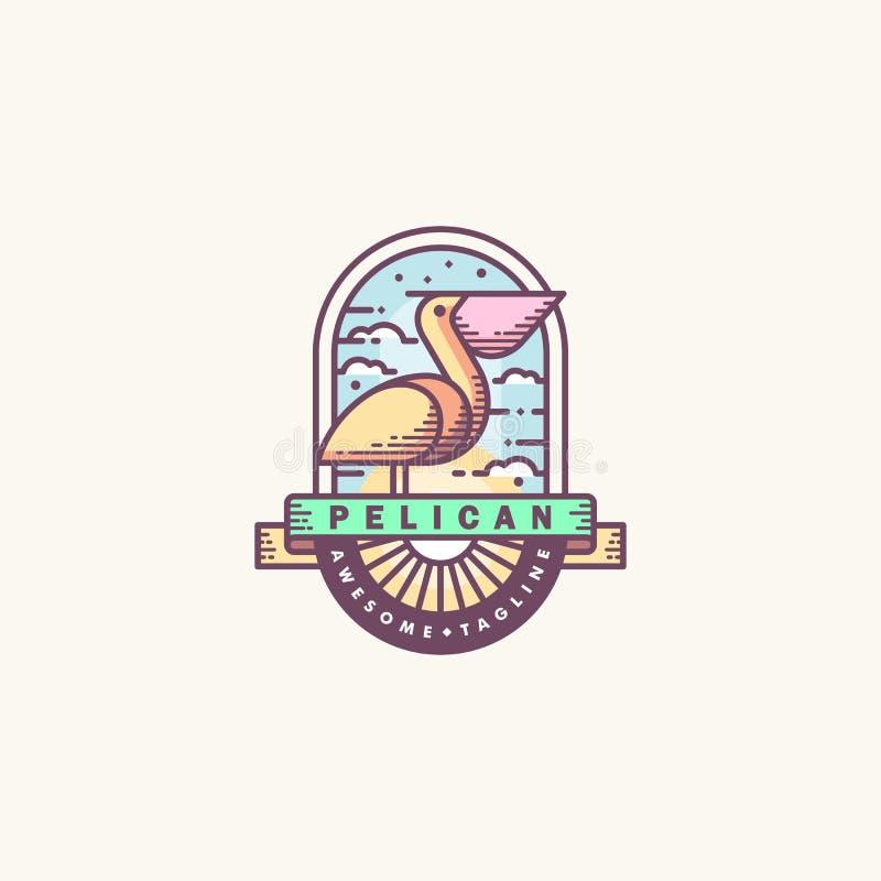 Van de de kunstillustratie van de pelikaanlijn de vectorontwerpsjabloon stock illustratie