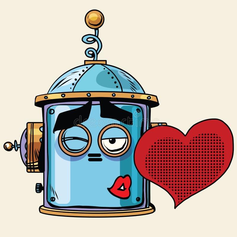 Van de kusemoji van de Emoticonliefde emotie van de robot de hoofdsmiley stock illustratie