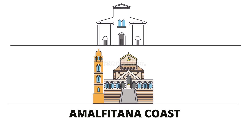 Van de Kust de vlakke oriëntatiepunten van Italië, Amalfi vectorillustratie De stad van de de Kustlijn van Italië, Amalfi met ber royalty-vrije illustratie