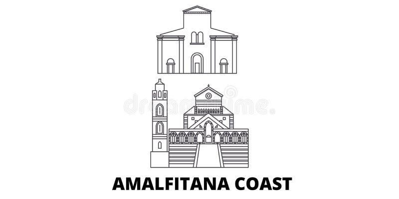 Van de de Kustlijn van Italië, Amalfi de reeks van de de reishorizon Van het de Kustoverzicht van Italië, Amalfi de stads vectori royalty-vrije illustratie