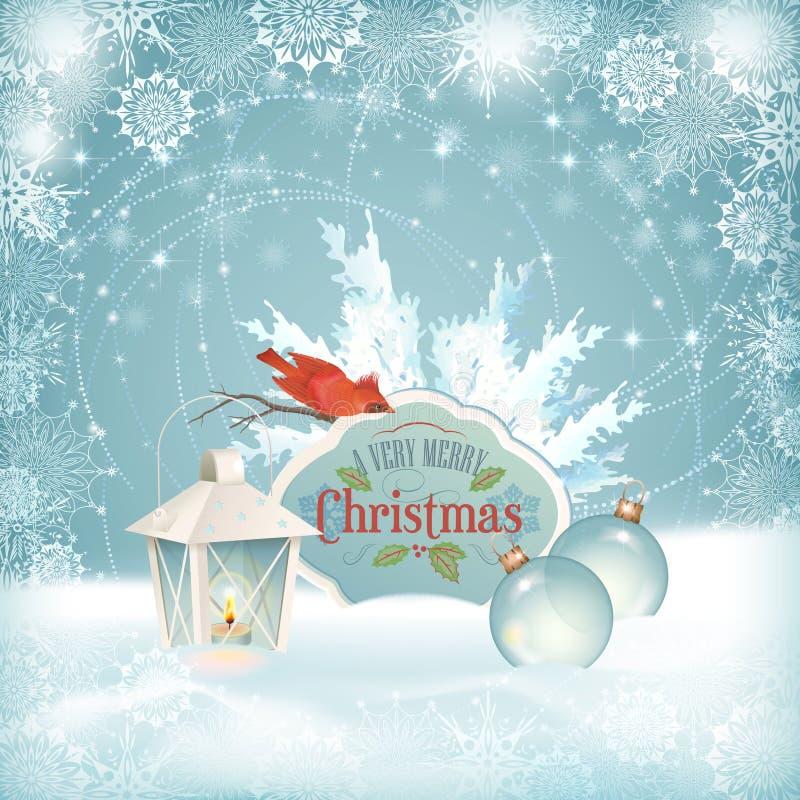 Van de Lantaarnkerstmis van de Kerstmisvogel de Ballenachtergrond royalty-vrije illustratie
