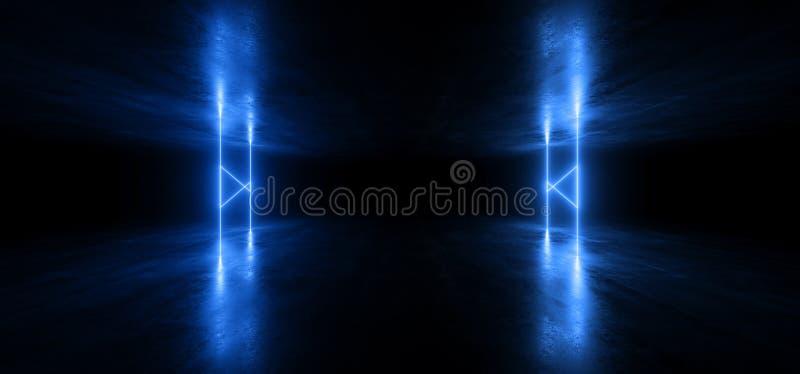 Van de Laserstraalvormen van FI van neonlichten de Virtuele Sc.i Futuristische Trillende Blauwe Gloeiende Concrete Tunnel Ondergr royalty-vrije illustratie
