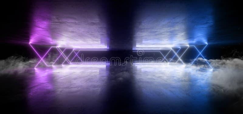 Van de Laserstraalvormen van FI van Sc.i van rookneonlichten de Virtuele Futuristische Trillende Purpere Blauwe Gloeiende Concret royalty-vrije illustratie