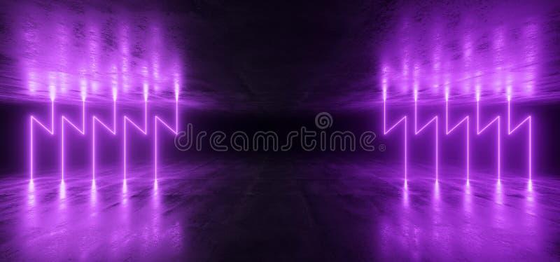 Van de Laserviolet purple glowing modern retro van rook Futuristische Neonlichten van de het Ruimteschipclub van FI van Sc.i Eleg vector illustratie