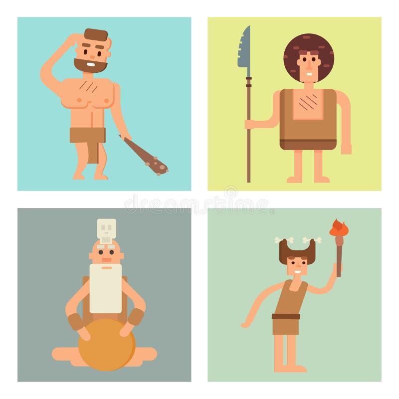 Van de leeftijdskaarten van de holbewoner de primitieve steen van het beeldverhaal Neanderthaler mensen van de het karakterevolut royalty-vrije illustratie