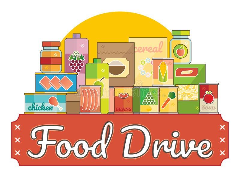 Van de de liefdadigheidsbeweging van de voedselaandrijving het embleem vectorillustratie stock illustratie