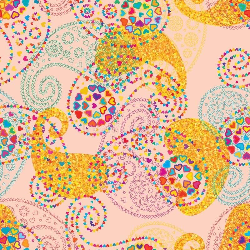 Van de de liefdester van Paisley het de stijlgoud schittert naadloos patroon royalty-vrije illustratie