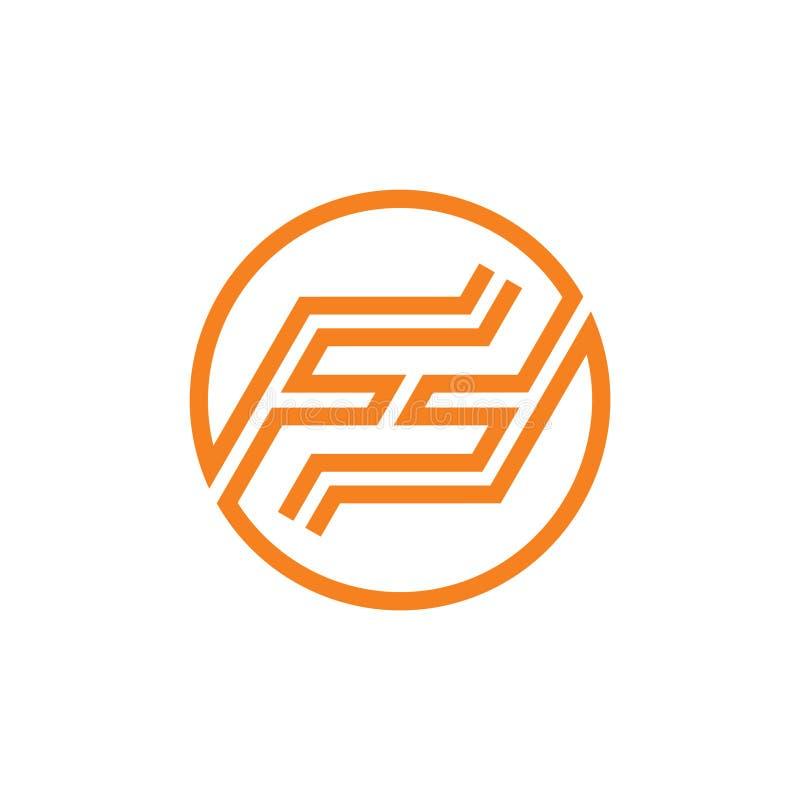 Van de de lijn geometrische cirkel van brievenff eenvoudige strepen het embleemvector stock illustratie