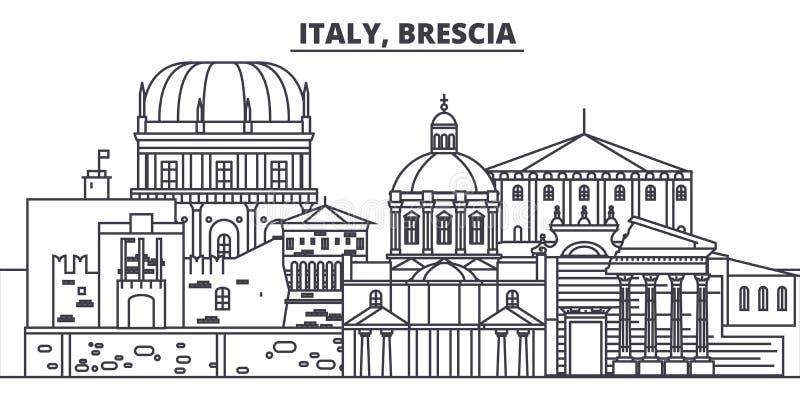 Van de de lijnhorizon van Italië, Brescia de vectorillustratie Italië, lineaire cityscape van Brescia met beroemde oriëntatiepunt vector illustratie