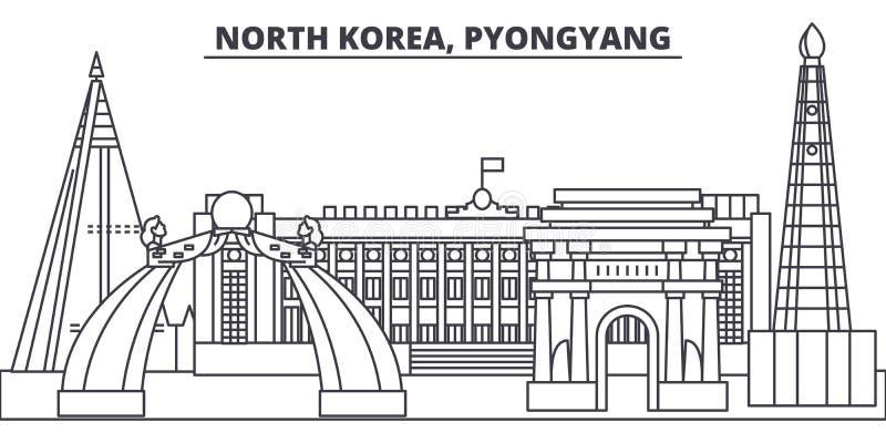 Van de de lijnhorizon van Noord-Korea, Pyongyang de vectorillustratie Noord-Korea, Pyongyang lineaire cityscape met beroemde orië stock illustratie