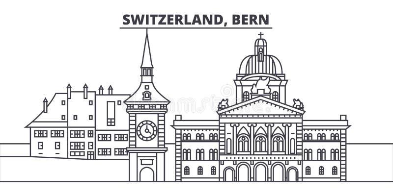 Van de de lijnhorizon van Zwitserland, Bern de vectorillustratie Zwitserland, lineaire cityscape van Bern met beroemde oriëntatie royalty-vrije illustratie