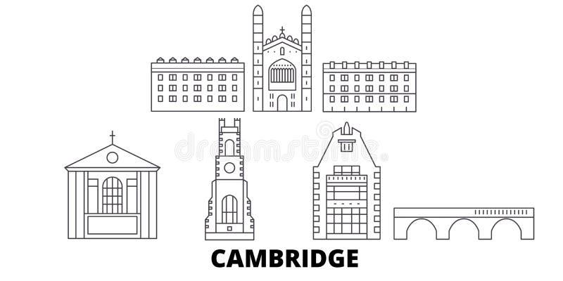 Van de de lijnreis van het Verenigd Koninkrijk, Cambridge de horizonreeks Van de het overzichtsstad van het Verenigd Koninkrijk,  stock illustratie