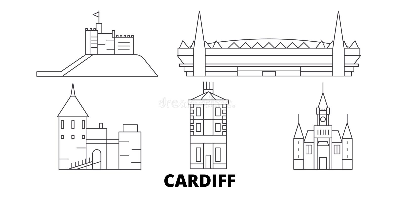 Van de de lijnreis van het Verenigd Koninkrijk, Cardiff de horizonreeks Van de het overzichtsstad van het Verenigd Koninkrijk, Ca royalty-vrije illustratie
