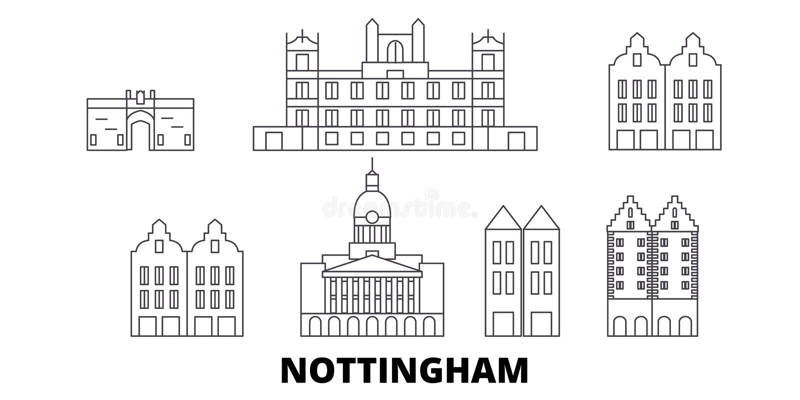 Van de de lijnreis van het Verenigd Koninkrijk, Nottingham de horizonreeks Van de het overzichtsstad van het Verenigd Koninkrijk, stock illustratie