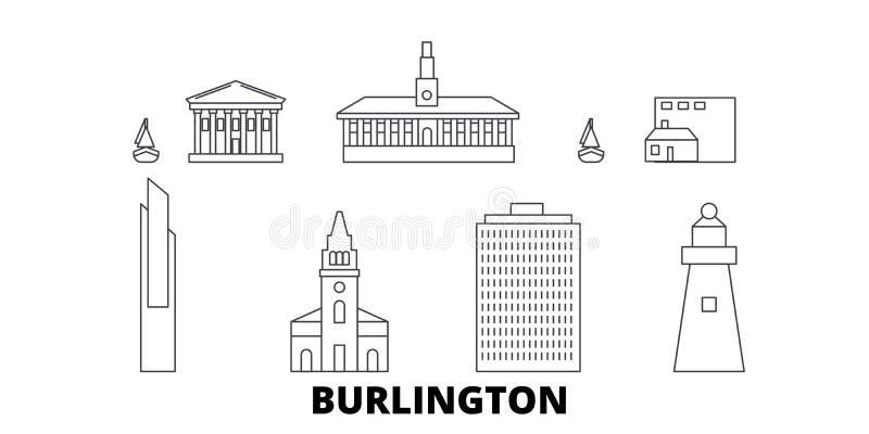 Van de de lijnreis van Verenigde Staten, Burlington de horizonreeks Van de het overzichtsstad van Verenigde Staten, Burlington de royalty-vrije illustratie