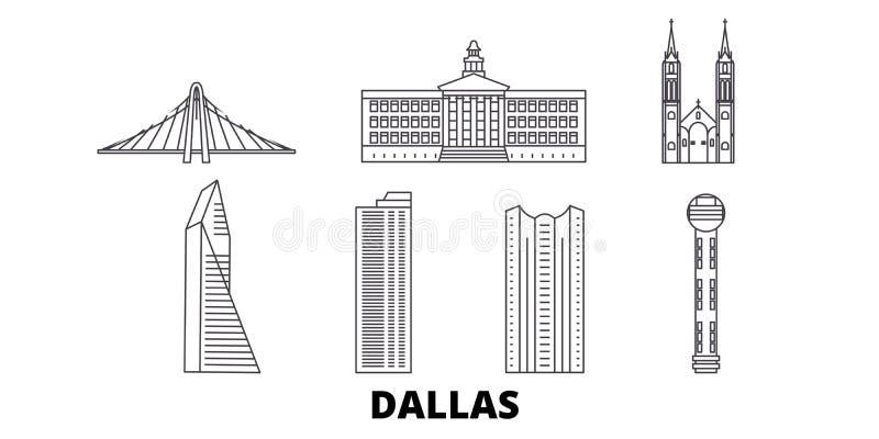 Van de de lijnreis van Verenigde Staten, Dallas de horizonreeks Van de het overzichtsstad van Verenigde Staten, Dallas de vectori royalty-vrije illustratie