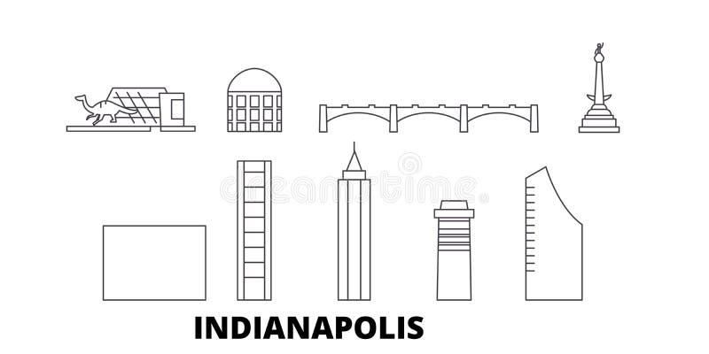 Van de de lijnreis van Verenigde Staten, Indianapolis de horizonreeks Van de het overzichtsstad van Verenigde Staten, Indianapoli stock illustratie