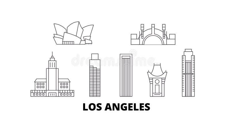 Van de de lijnreis van Verenigde Staten, Los Angeles de horizonreeks Van de het overzichtsstad van Verenigde Staten, Los Angeles  royalty-vrije illustratie
