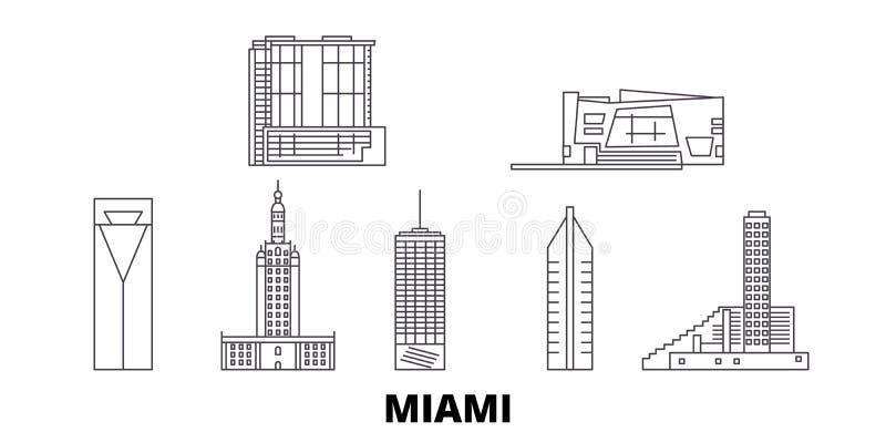 Van de de lijnreis van Verenigde Staten, Miami de horizonreeks Van de het overzichtsstad van Verenigde Staten, Miami de vectorill stock illustratie