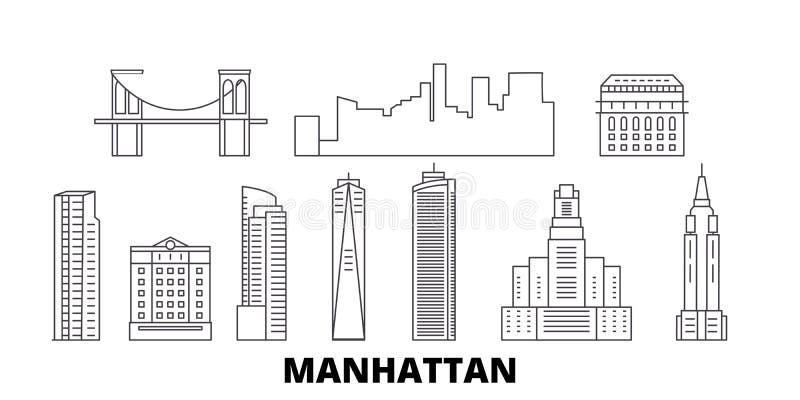 Van de de lijnreis van Verenigde Staten, New York Manhattan de horizonreeks De vector van de het overzichtsstad van Verenigde Sta vector illustratie